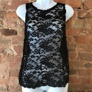 Sabo Skirt Black Sheer Flower Tank With Open Back